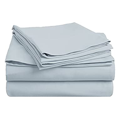 100% Premium Long-Staple Combed Cotton 400 Thread Count Deep-Fitting Pocket Soft and Smooth 4 Piece Sheet Set, Queen, Solid Light Blue