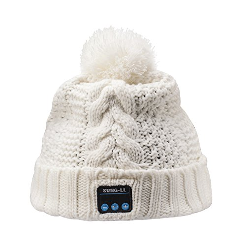 Sung-ll Soft and Warm Hat Wireless Beanie with Bluetooth Smart Cap Speaker Micro Headphone (White)