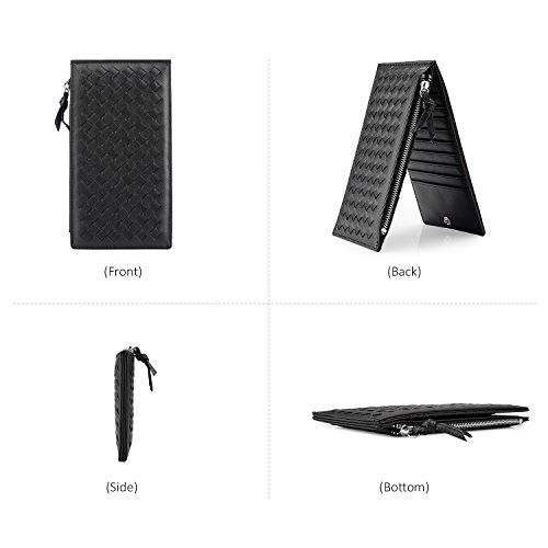 Carteras para las mujeres Slim Bifold Wallet titular de la tarjeta de la tarjeta de organizador con bolsillo de cremallera Negro