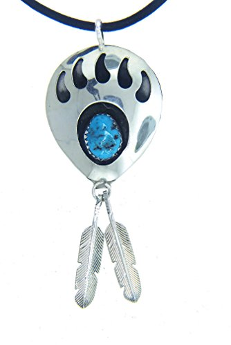 BY Navajo Artist Virginia Long Sterling-silver & Tourquoise Bear Paw Genuine Leather cord Pendant-necklace