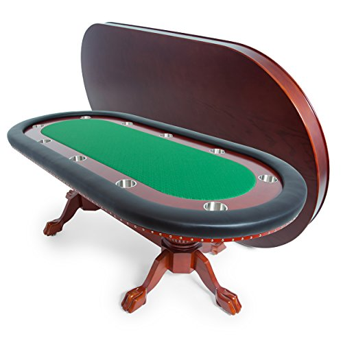 BBO Poker Rockwell Poker Table for 10 Players with Green Speed Cloth Playing Surface, 94 x 44-Inch Oval, Includes Matching Dining Top