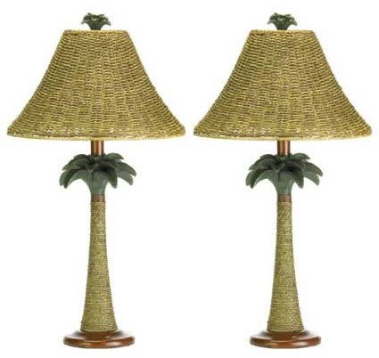 1 Pair 2 Palm Tree Rattan Table Living Room Lamp Lighting Lights