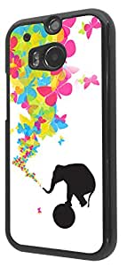 445 - Shabby Chic Cute Elephant Rolling Ball Butterflies Trunk Design For htc One M8 Fashion Trend CASE Back COVER Plastic & Slim Metal -Black
