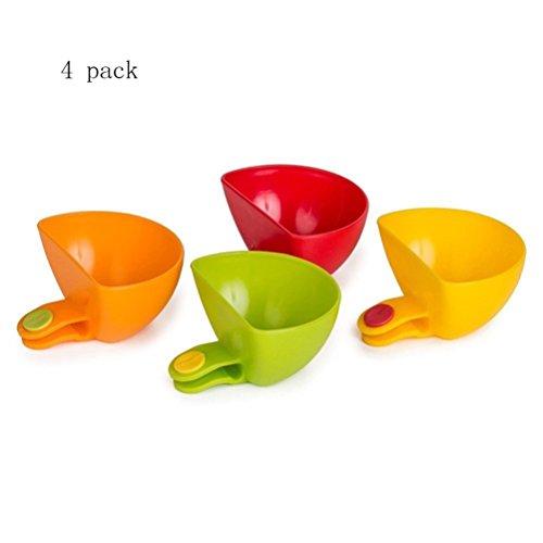 Generic Dip Clips Plate Grab Clip on Dip Holders Tomato Sauce Salt Vinegar Sugar Flavor Spices Dip Bowl Party Ware 4PCs