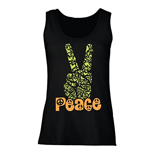 lepni.me Camisetas sin Mangas para Mujer Símbolo del Hippie Peace Festival, década de 1960 de los 70, Muestra de Fiesta...