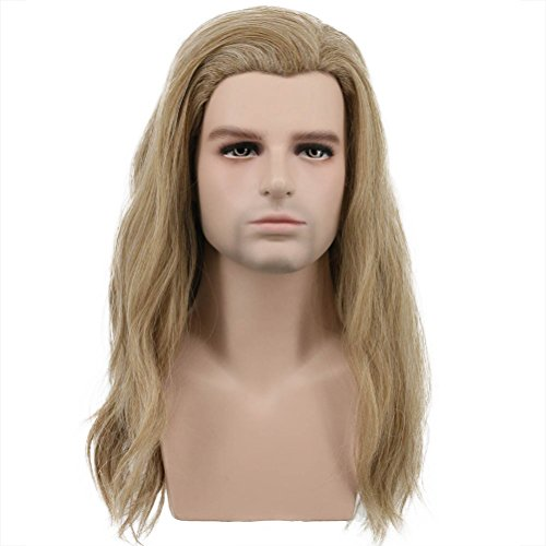 Karlery Mens Long Curly Wave Light Brown Wig Halloween Cosplay Wig Anime Costume Party Wig
