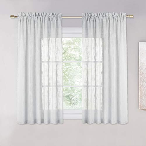 NICETOWN Linen Like Sheer Curtains - Country Style Semi Voile Small Window Drapes Privacy with Amount of Light for Basement/Farmhouse (Grey, 52 inches Width, 45 inches Length, 1 Pair) (Curtains Style Window)