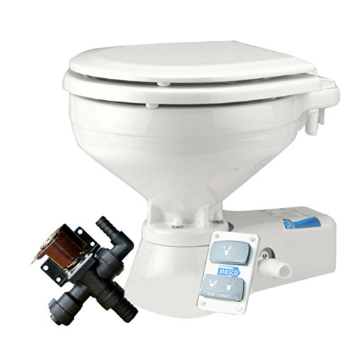 Jabsco 37045-0092 Quiet Flush Electric Toilet, EMC, Freshwater, Compact Size, 12 Volt