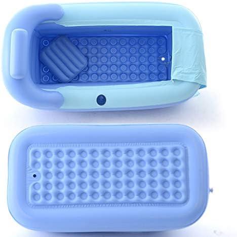 インフレータブルバスタブスパバスタブアダルトタブビーチバースバレル折りたたみタブPVCキッズインフレータブルプール+電動エアーポンプ (Color : BLUE, Size : 160*84*64CM)