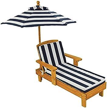 KidKraft- Tumbona de madera con sombrilla, muebles de jardín para niños, Color Azul (105) , color/modelo surtido: Amazon.es: Juguetes y juegos