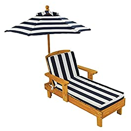 KidKraft Outdoor Chaise with Umbrella and Navy Stripe Fabric – 105