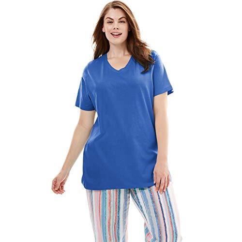 Dreams & Co. Women's Plus Size V-Neck Sleep Tee - True Blue, 26/28