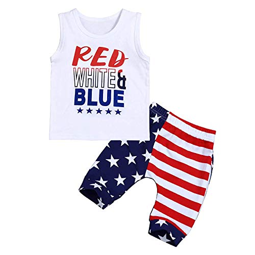 2 Styles Toddler Kids Baby Boys Patriotic 4th of July Independence Day Sleeveless T-Shirt Vest+US Flag Shorts Pants Outfits Set (White, 110/2-3Y)
