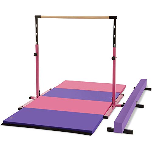 Joom Beem Gen 2 Pink Adjustable (3′-5′) Horizontal Bar and 8ft Folding Mat Balance Beam Combo Gym Set