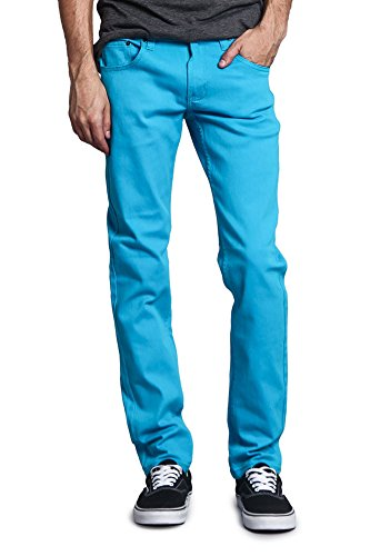 Victorious Men's Skinny Fit Color Stretch Jeans DL937 - TURQUOISE - 32/32