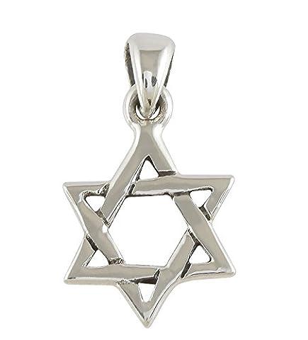 AJDesign 925 Sterling Silver Classic Simple Unisex Jewish Star of David Pendant (Star Of David Silver Pendant)