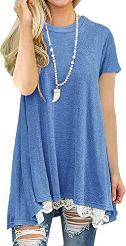 (She's Style Women's Cotton Short Sleeve Lace Scoop Neck A-Line Tunic Blouse Tops Blue Size XXL)