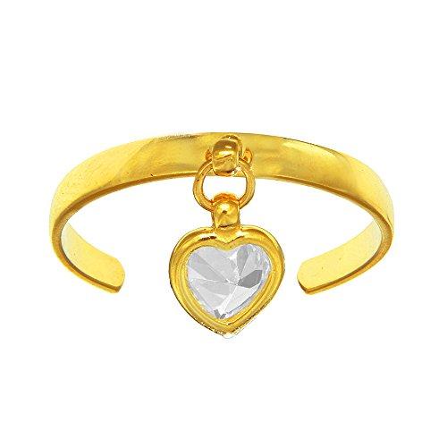 JewelStop 14k Yellow Gold CZ Dangle Heart Toe Ring Adjustable, 1.1gr.