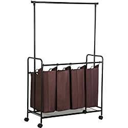 World Pride 4 Laundry cart sorter w/hanging bar,Brown