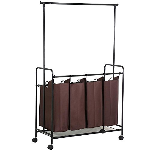 Yaheetech 4 Laundry cart sorter w/hanging bar,Brown