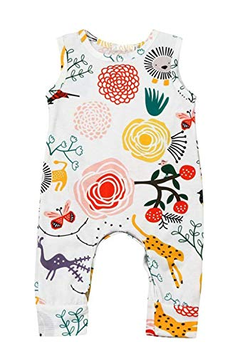 Happy kido Newborn Baby Girls Flower Animal Print Romper Bodysuit Outfits Spring Summer Tops (White, 0-6 Months) 70