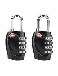 TSA Luggage Locks, [Newest Version] 4-Digit Combination Steel Padlocks, Approved Travel Lock for Baggage, Suitcases & Backpacks, 2 Pack (Black)