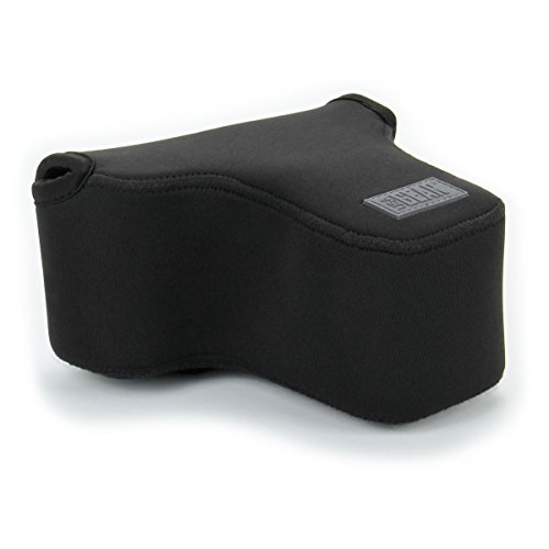 USA GEAR DSLR SLR Camera Sleeve Case (Black) with Neoprene Protection, Holster Belt Loop and Accessory Storage - Compatible With Nikon D3400, Canon EOS Rebel SL2, Pentax K-70 and Many More