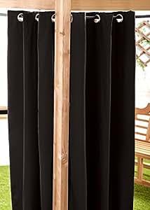 "Negro resistente al agua para exteriores con ojales cortina 55""X120Gazebo verano casa"