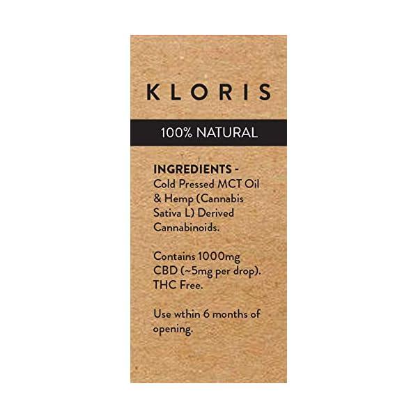KLORIS CBD 1000mg (10%) Oil Drops, Natural, 10 ml