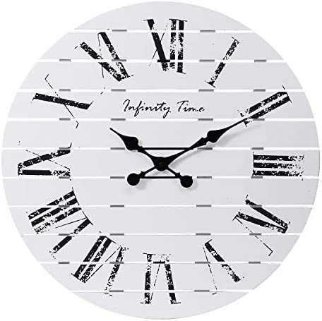 Infinity Time Co 24Inch Farmhouse Whitewashed Shiplap Planks Pallet Solid Barn Wood Wall Clock