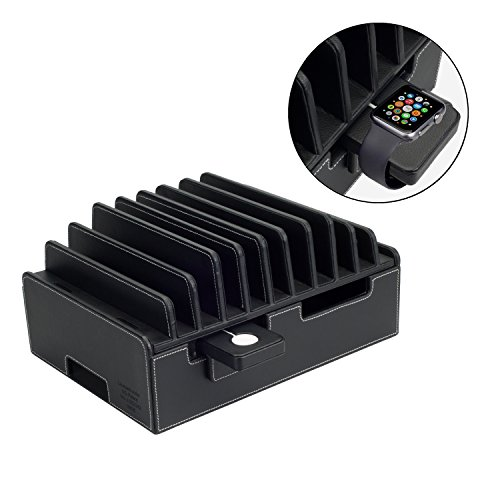 MobileVision 10-Port Charging Station Executive PU Black Leather Plus Compatible Charging Adapter for Apple Watch Combo use with Apple Watch, Smartphones & Tablets