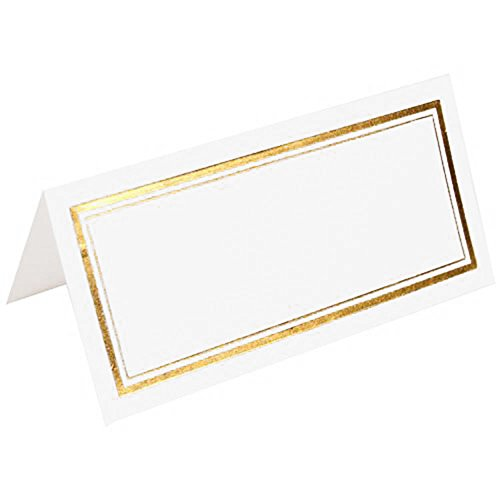JAM PAPER Foldover Wedding Table Place Cards - 2 x 4 1/2 - White with Gold Double Border - 100/Pack