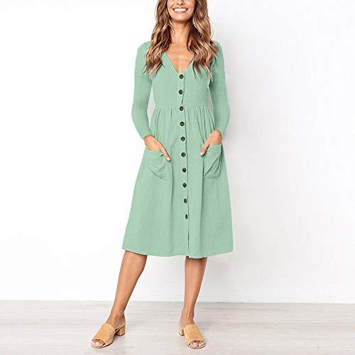 JESPER Women Solid V Neck Button Dress Long Sleeve Pocket Casual Beach Long Maxi Dress Green by JESPER (Image #1)