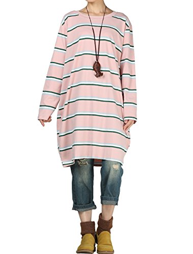 Mordenmiss Women's Long Sleeve Stripes Tops Loose T-shirt Dress (L, Pink) by Mordenmiss
