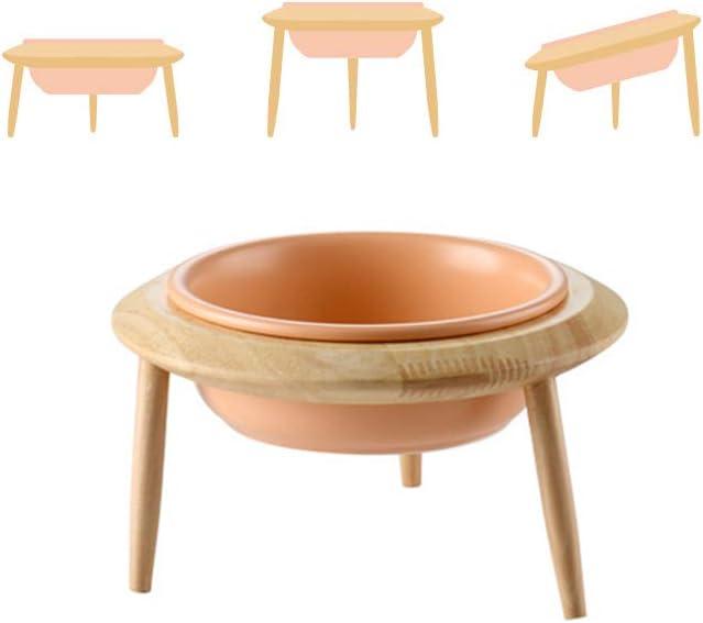 3 m/étodos de instalaci/ón para Diferentes Alturas HCHLQLZ Naranja Ceramica Comedero Elevado Perro y Comedero Regulable Gato En un Elegante Soporte de bamb/ú - 800 ml