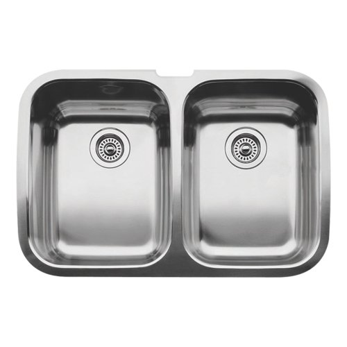 Satin Polished Double Bowl - Blanco 511-577 Supreme 2 Equal Double Bowl Undermount Kitchen Sink, Satin Polished Finish