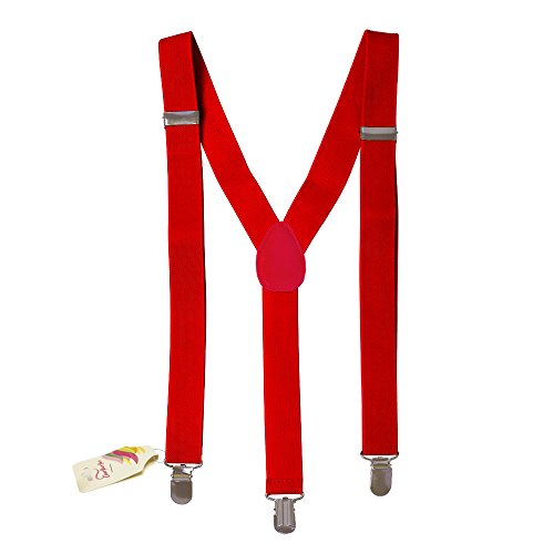 CoverYourHair Red Suspenders - Suspenders - Adjustable Suspenders - Y Back Suspenders - Solid -