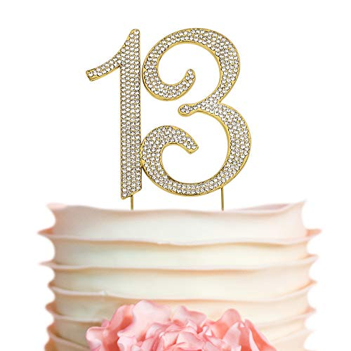 13 GOLD Cake Topper | Premium Bling Crystal Rhinestone Diamond Gems | 13th Birthday or Anniversary Party Decoration Ideas | Quality Metal Alloy | Perfect Keepsake (13 Gold)