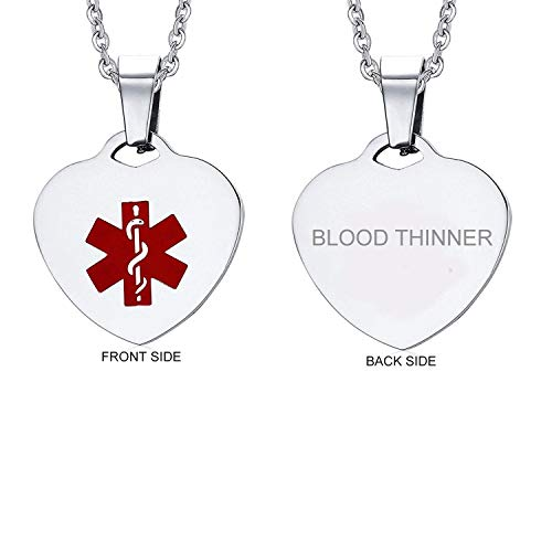 VNOX Stainless Steel Blood THINNER Heart Medical Alert ID Pendant Necklace for Men Women,20 Inches