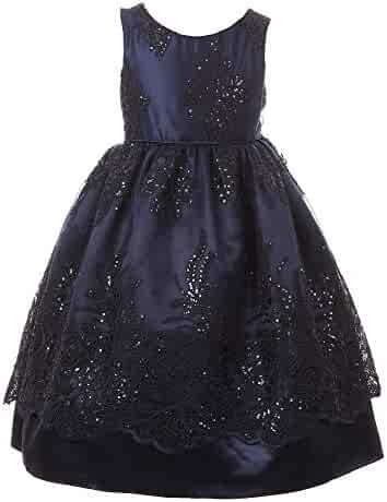 04de0d59dc Little Girls Navy Sparkle Sequin Adorned Lace Satin Christmas Dress 2-6