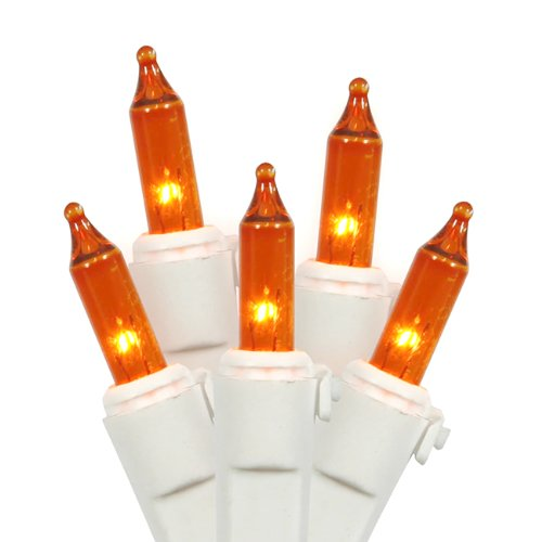 Vickerman 100 Lights Amber White Wire End Connecting Lock Set with 4-Inch Spacing and 33-Feet Length