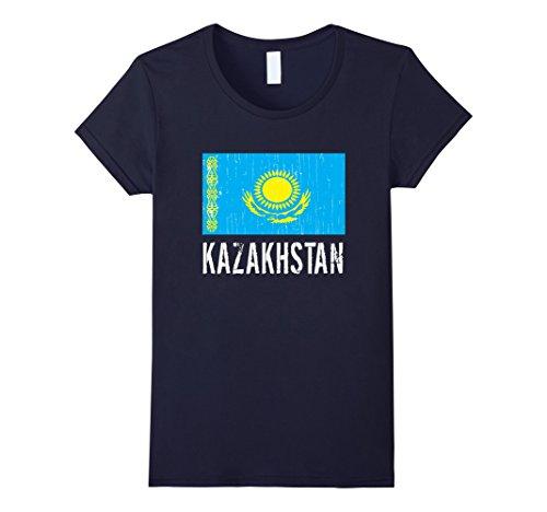 Women's Kazakhstan Shirt - Kazakhstan Vintage Flag Soccer T-Shirt Small (Kazakhstan Flag T-shirt)