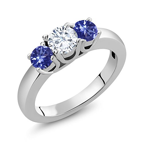 14K White Gold 3-Stone Ring Forever Brilliant (GHI) Round 0.50ct (DEW) Created Moissanite by Charles & Colvard and ()