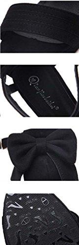 SHEO sandalias de tacón alto Señoras sexy negro bien con plataforma impermeable con sandalias de tacón alto hebilla Negro