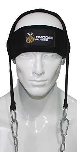 Neck Head Harness for Resistance Training by DMoose Fitness. Extra-Heavy D-Rings and Steel Chain, Comfort Fit Neoprene, Superior Saddle Stitching. Build A Thicker Neck with Durable Exercise Neck Strap
