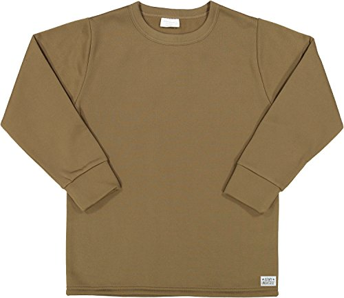 Brown ECWCS Thermal Military Undershirt Crew Neck Top with Pin (Chest 42-44) L