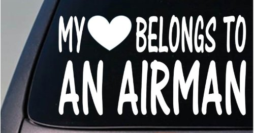 Airmans Heart (My heart belongs to an Airman *D835* sticker decal)