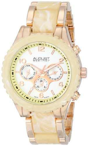 August Steiner Women's AS8093RG Swiss Quartz Multifunction Rose-tone & Ivory Bracelet Watch
