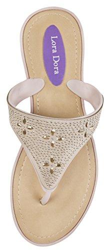 WOMENS EVA LOW WEDGE WEAVE FLIP FLOPS FLOWER BEACH TOE POSTS SUMMER SANDALS LADIES SHOES SIZE UK 3-8 Jewels - Nude