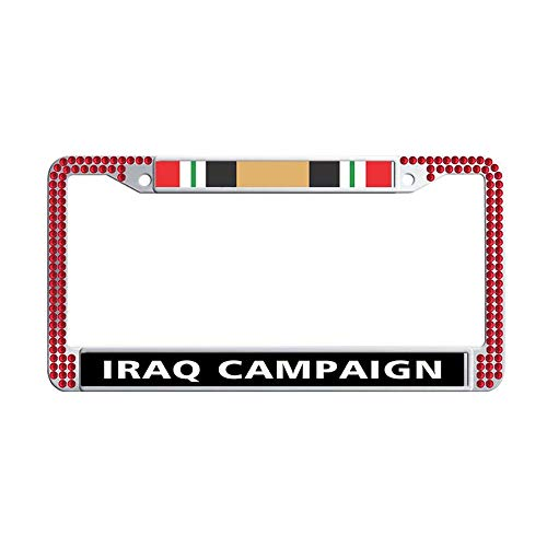 Toanovelty Iraq Campaign Ribbon Shining Crystal License Plate Frame, Waterproof Red Bling Luxury Auto License Tag Holder 6' x 12' in